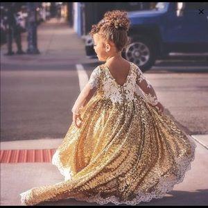 Dresses - Gold sequin lace high low dress